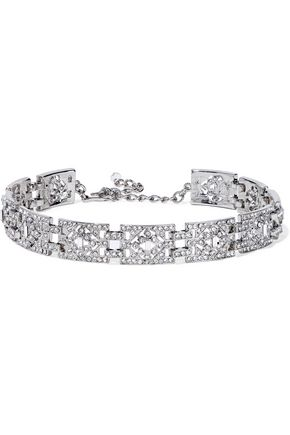 KENNETH JAY LANE Silver-tone crystal choker