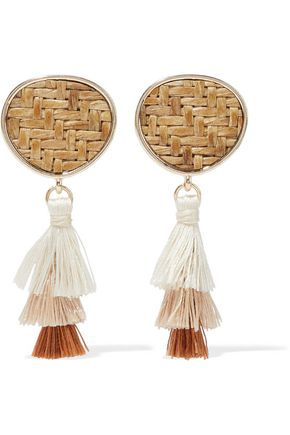 KENNETH JAY LANE Gold-tone, straw and tassel earrings