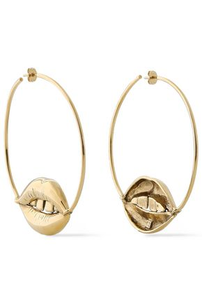 AURÉLIE BIDERMANN Red District 18-karat gold-plated hoop earrings
