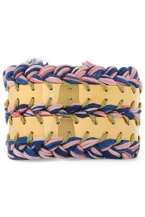 AURÉLIE BIDERMANN 18-karat white gold-plated and cotton braided bracelet