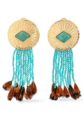 AURÉLIE BIDERMANN Gold-plated, turquoise and feather earrings