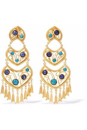 BEN-AMUN Gold-tone cabochon clip earrings