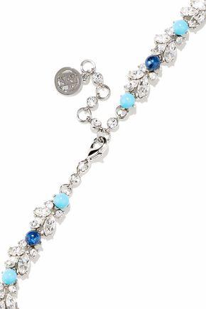 BEN-AMUN Silver-tone, Swarovski crystal and stone necklace