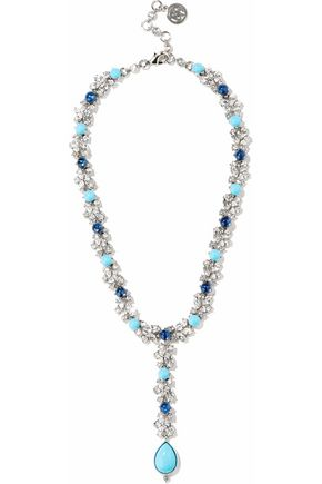 BEN-AMUN Silver-tone, Swarovski crystal and stone necklace