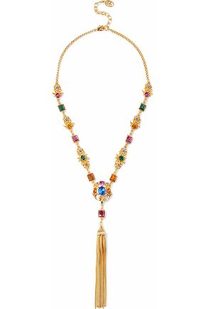 BEN-AMUN Gold-tone, crystal and tassel necklace