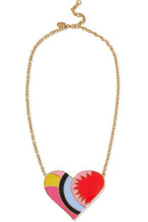 RED(V) Gold-tone enamel neckalce