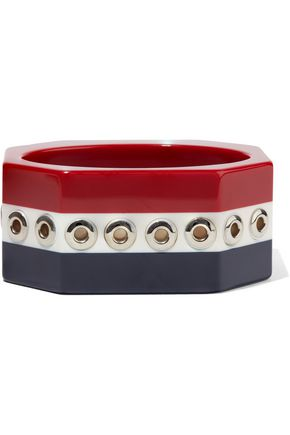 RED(V) Eyelet-embellished striped resin bangle