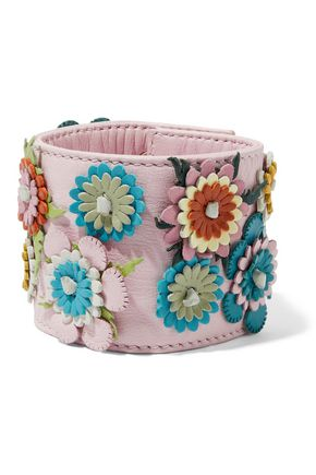 REDValentino Floral-appliquéd leather cuff