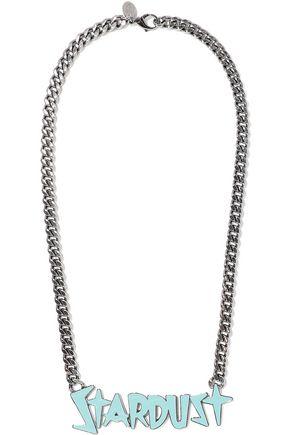RED(V) Gunmetal-tone enamel necklace