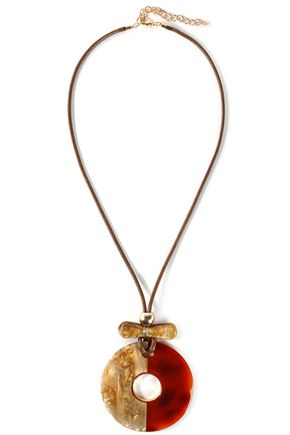 KENNETH JAY LANE Gold-tone, cord and resin necklace