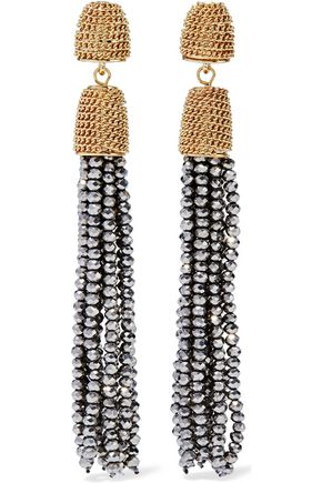 KENNETH JAY LANE Gold and silver-tone beaded tassel earrings
