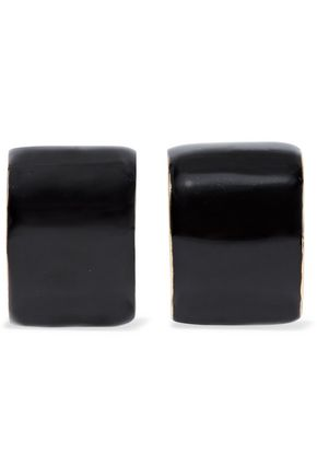 KENNETH JAY LANE Gold-tone enamel clip earrings