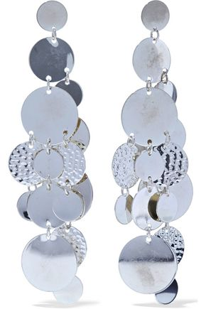 KENNETH JAY LANE Hammered silver-tone earrings
