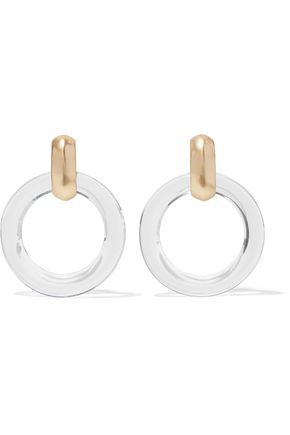 KENNETH JAY LANE Gold-tone resin clip earrings