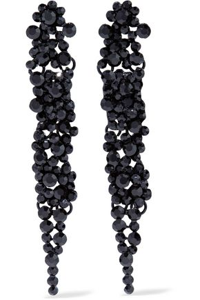 KENNETH JAY LANE Crystal, chain and silver-tone earrings