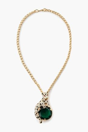 KENNETH JAY LANE Gold-tone, crystal and enamel necklace