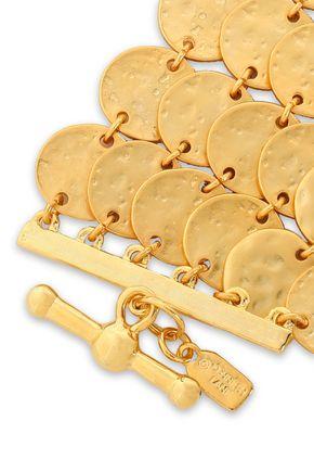 KENNETH JAY LANE Hammered gold-tone bracelet
