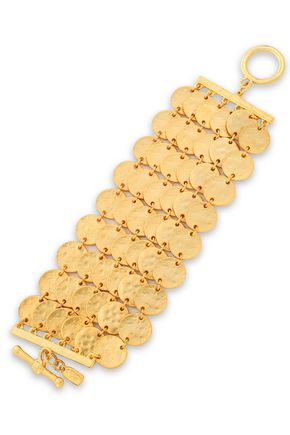 KENNETH JAY LANE Hammered gold-tone bracelet