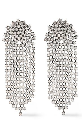 KENNETH JAY LANE Gunmetal-tone crystal clip earrings