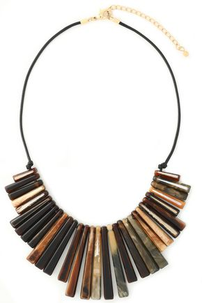 KENNETH JAY LANE Gold-tone, tortoiseshell resin and braided leather necklace