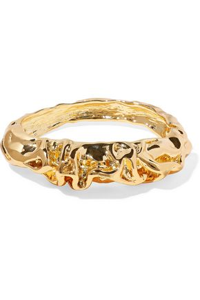 KENNETH JAY LANE Hammered gold-tone bangle