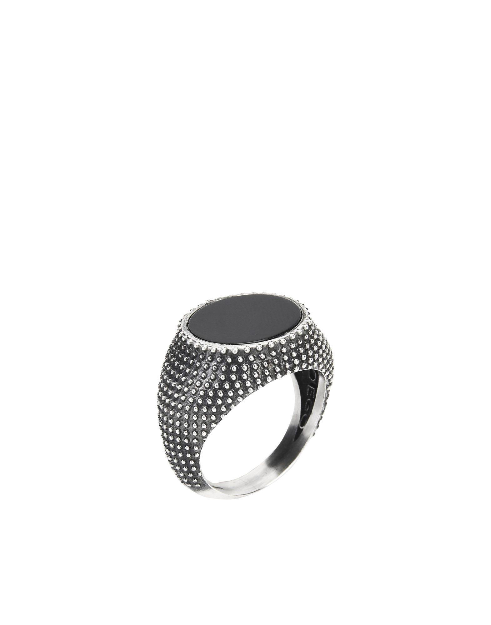 《セール開催中》FIRST PEOPLE FIRST メンズ 指輪 鉛色 14 シルバー925/1000 / オニキス Anello della Ricerca Bis