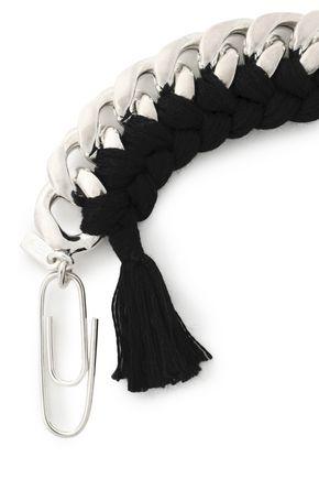 AURÉLIE BIDERMANN Tasseled silver-tone and cord bracelet