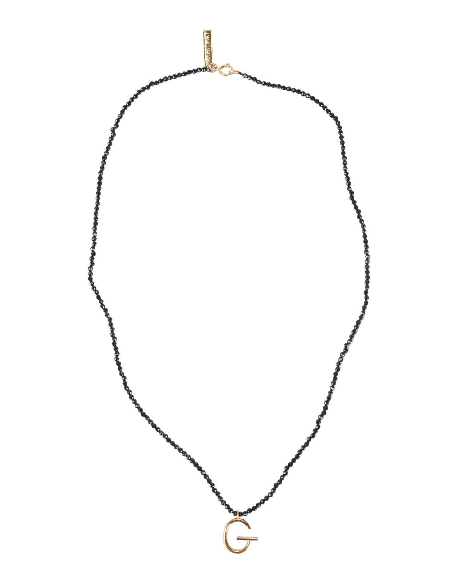 《セール開催中》FIRST PEOPLE FIRST レディース ネックレス ブラック スピネル / シルバー925/1000 Spinel Beads and Letter Pendent necklace