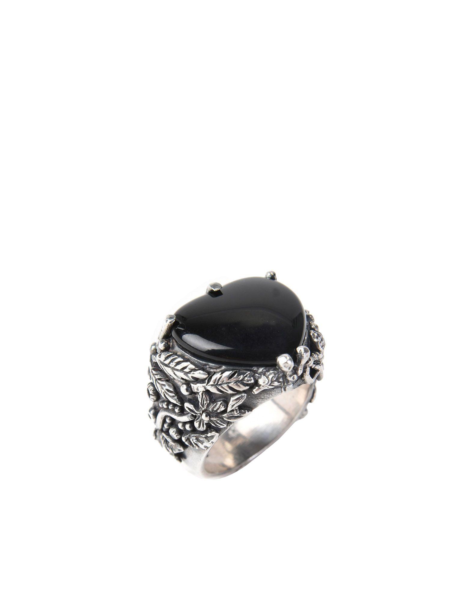 《セール開催中》FIRST PEOPLE FIRST レディース 指輪 ブラック 16 シルバー925/1000 / オニキス Anello Cuore Floreale
