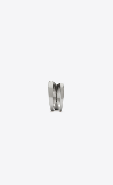 SAINT LAURENT Rings Woman SMOKING two-finger ring in silver-tone metal with white crystals b_V4