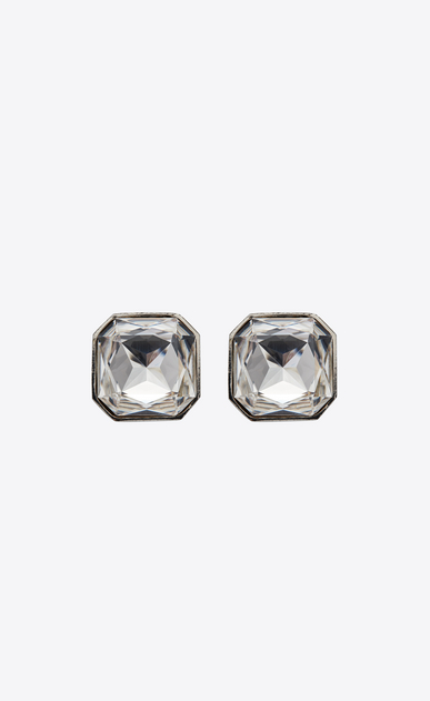 SAINT LAURENT イヤリング レディース Square SMOKING earrings in silver-tone metal with white crystals a_V4