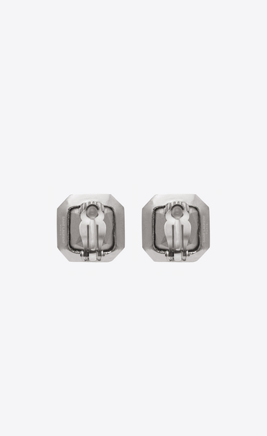 SAINT LAURENT イヤリング レディース Square SMOKING earrings in silver-tone metal with white crystals b_V4