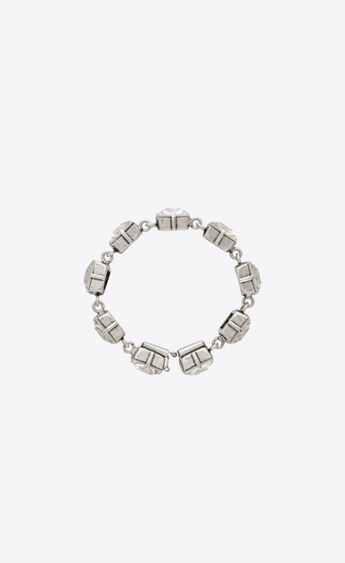 SAINT LAURENT Bracelets Woman Oversized SMOKING tennis bracelet in silver-tone metal with white crystals a_V4