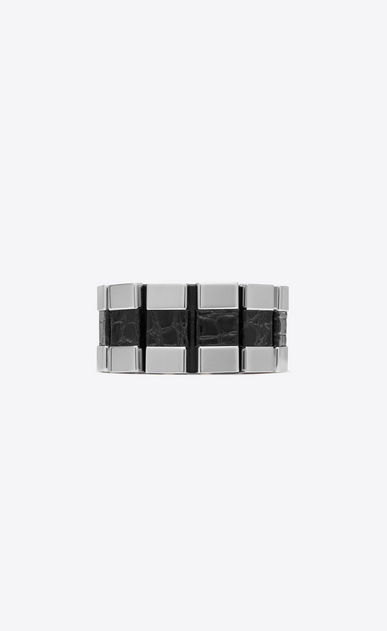 SAINT LAURENT Bracelets Woman CHAÎNES link cuff bracelet in black alligator skin and silver-tone metal a_V4