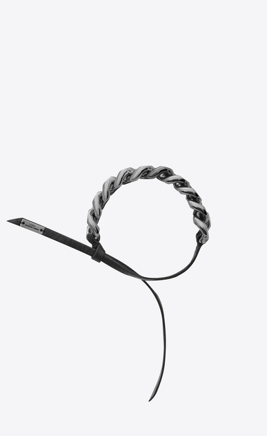 SAINT LAURENT Bracelets Woman CHAÎNES knotted curb chain bracelet in blackened metal and black leather a_V4