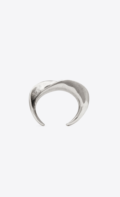 SAINT LAURENT Bracelets Femme Manchette MINIMALISTE en métal argenté b_V4