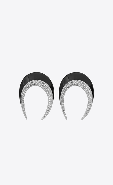 SMOKING horn earrings in silver-tone metal with black resin and white crystals