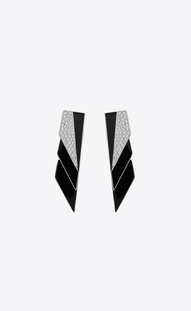 SMOKING earrings in silver-tone metal with black resin and white crystals