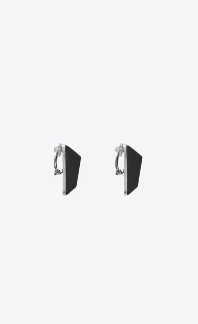 SAINT LAURENT Earrings Woman MINIMALISTE earrings in silver-tone metal and black leather b_V4