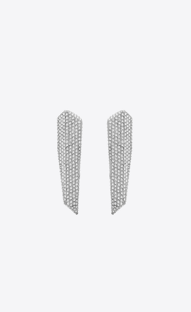 SAINT LAURENT Earrings Woman SMOKING stalactite earrings in silver-tone metal with white crystals a_V4