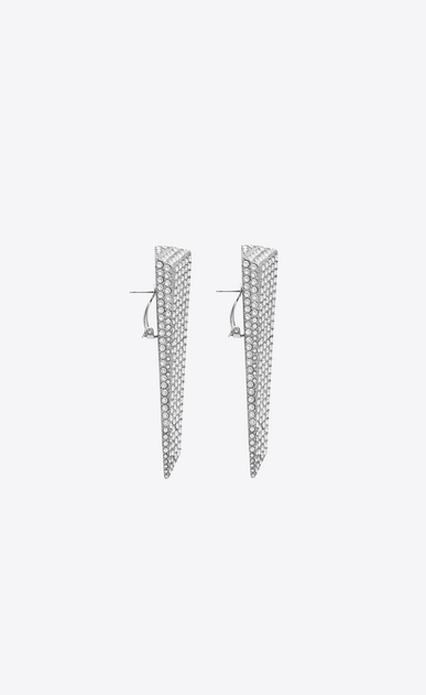 SAINT LAURENT イヤリング レディース SMOKING stalactite earrings in silver-tone metal with white crystals b_V4