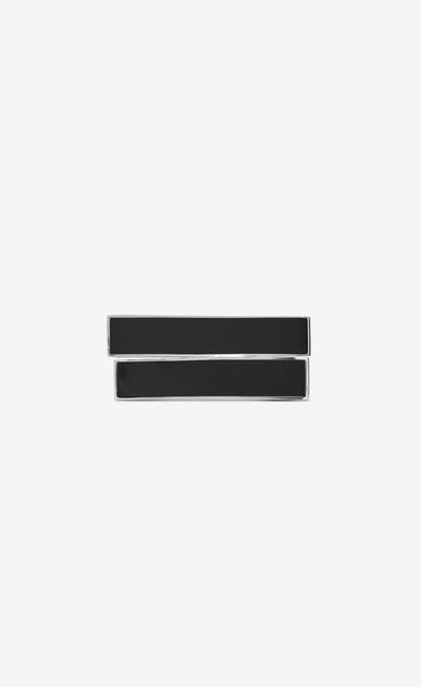 SAINT LAURENT Bracelets Femme Manchette MINIMALISTE en métal argenté et onyx noir a_V4