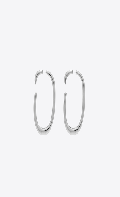 SAINT LAURENT Earrings Woman Silver-tone metal hoop earrings a_V4