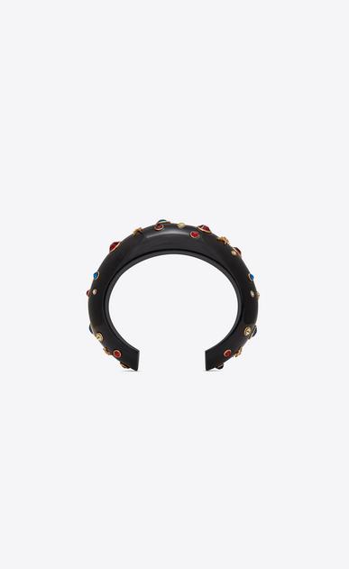 SAINT LAURENT Bracelets Femme Manchette EIGHTIES en résine noire et cristaux bleus, rouges et blancs b_V4