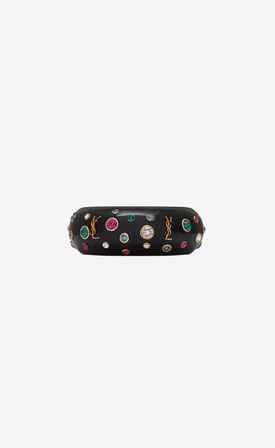 SAINT LAURENT Bracelets Femme Manchette EIGHTIES en résine noire et cristaux verts, fuchsia et blancs a_V4