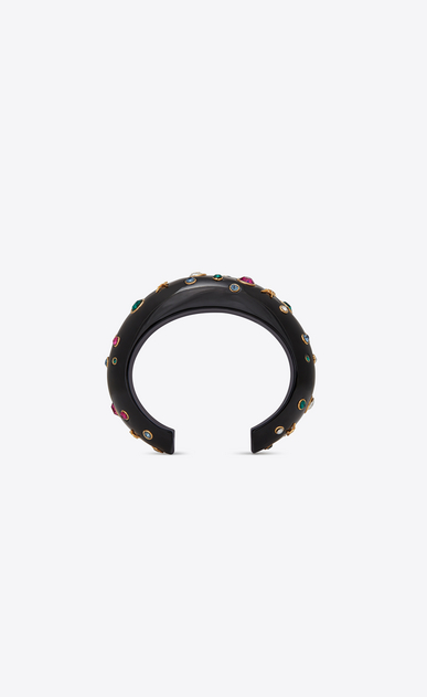SAINT LAURENT Bracelets Woman EIGHTIES cuff bracelet in black resin with green, fuchsia and white crystals b_V4