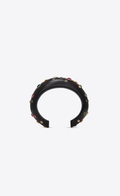 SAINT LAURENT Bracelets Femme Manchette EIGHTIES en résine noire et cristaux verts, fuchsia et blancs b_V4