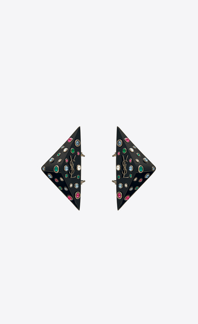 SAINT LAURENT Orecchini Donna Orecchini EIGHTIES triangle in resina nera e cristalli multicolore a_V4
