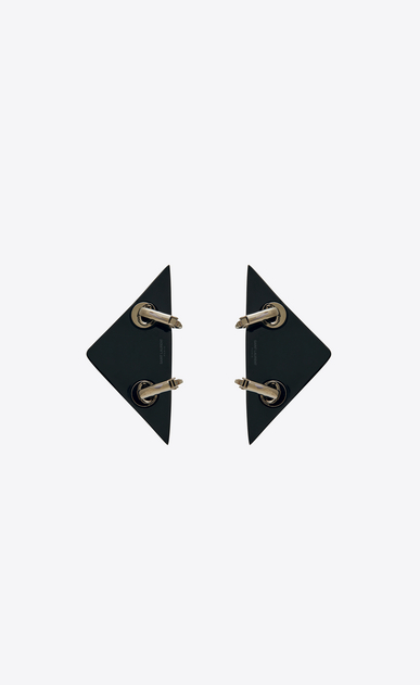 SAINT LAURENT イヤリング レディース EIGHTIES triangle earrings in black resin with multicolored crystals b_V4