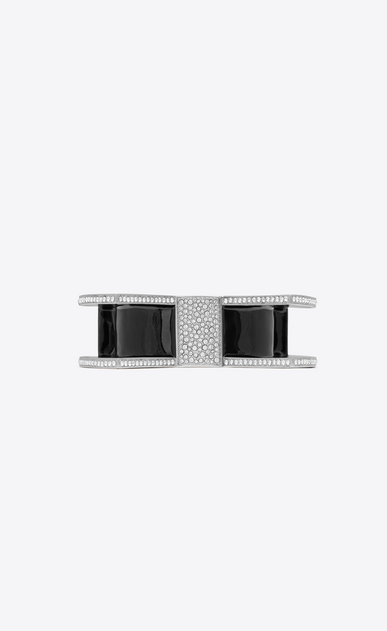 SAINT LAURENT Bracelets Woman SMOKING twisted torque bracelet in silver-tone metal with black enamel and white crystals a_V4